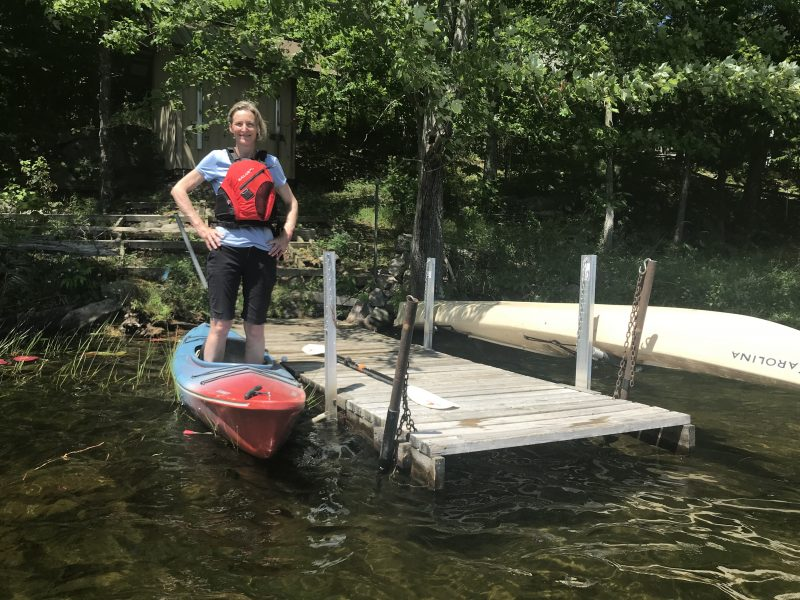 Kayak Launch Dock and Stabilizing System at the Dock, Shore